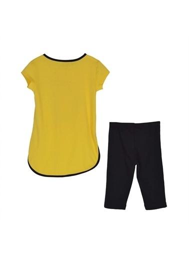 Silversun Kids Kız Çocuk Baskılı Arkası Uzun Kısa Kollu Tişört Tayt Takım !Kt 215543 Sarı